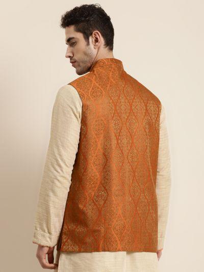 Sojanya (Since 1958), Men's Jacquard Silk Orange & Gold Waistcoat