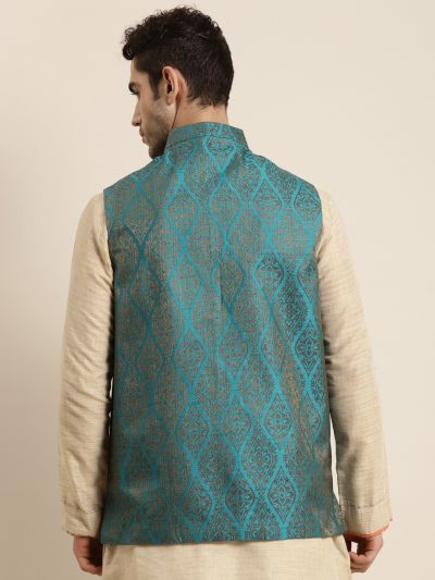 Sojanya (Since 1958), Men's Jacquard Silk Teal Blue & Gold Waistcoat