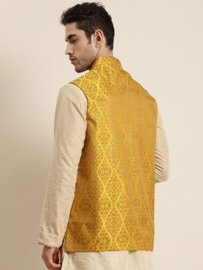 Sojanya (Since 1958), Men's Jacquard Silk Mustard & Gold Waistcoat