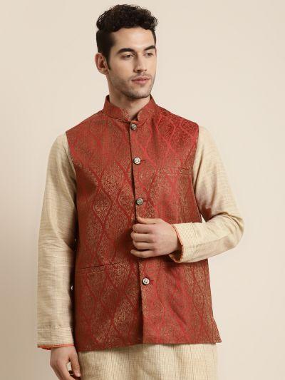 Sojanya (Since 1958), Men's Jacquard Silk Red & Gold Waistcoat