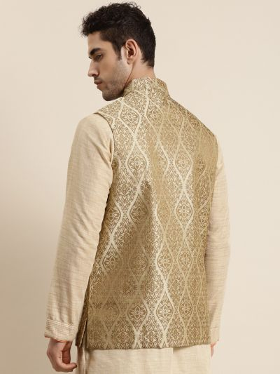 Sojanya (Since 1958), Men's Jacquard Silk Beige & Gold Waistcoat