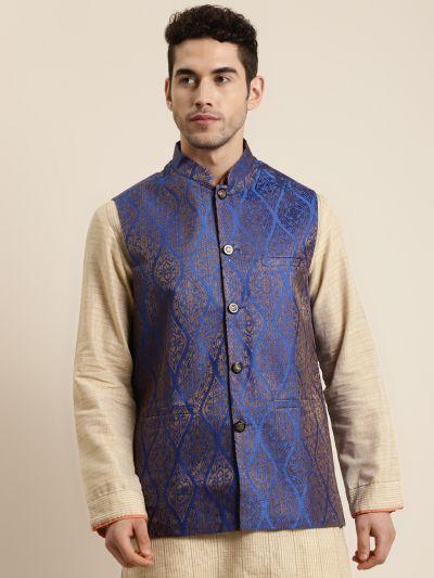 Sojanya (Since 1958), Men's Jacquard Silk Blue & Gold Waistcoat
