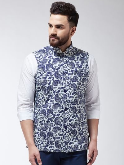 Sojanya (Since 1958) Men's Cotton Blend Cream & Royal Blue Printed Waist Coat