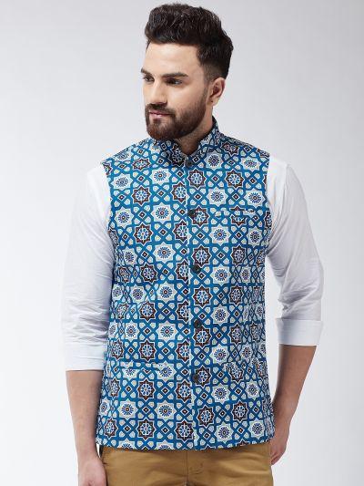 Sojanya (Since 1958) Men's Cotton Blend Rust & Beige Printed Waist Coat