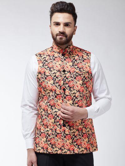 Sojanya (Since 1958) Men's Cotton Blend Multicolored Printed Waist Coat