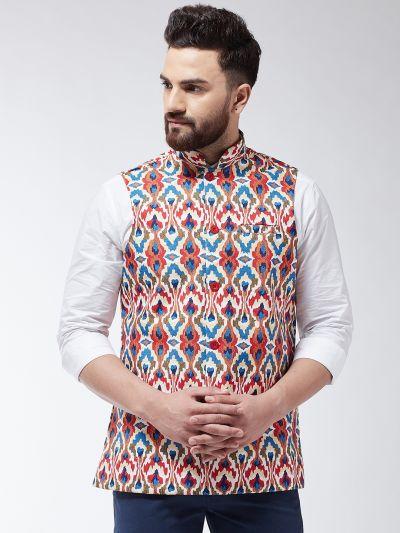 Sojanya (Since 1958) Men's Cotton Blend Sea Green & Multi Printed Waist Coat