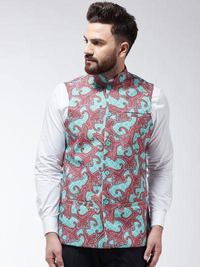 Sojanya (Since 1958) Men's Cotton Blend Pink & Multi Printed Waist Coat