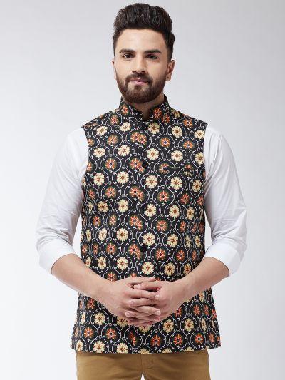 Sojanya (Since 1958) Men's Cotton Blend Green & Multi Printed Waist Coat