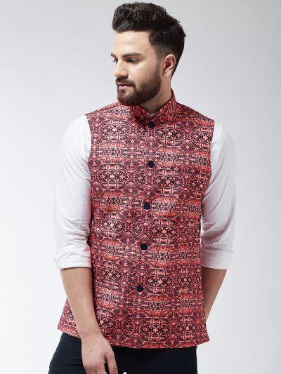 Sojanya (Since 1958) Men's Cotton Blend Black & Red Printed Waist Coat