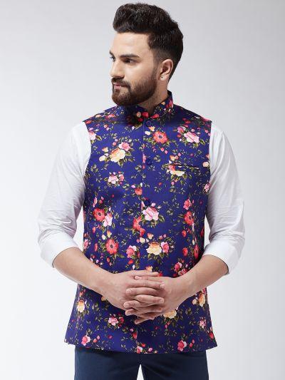 Sojanya (Since 1958) Men's Silk Blend Peach & Gold Self Design Waist Coat