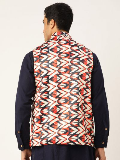 Sojanya (Since 1958), Men's Silk Blend Cream Printed ONLY  Waistcoat