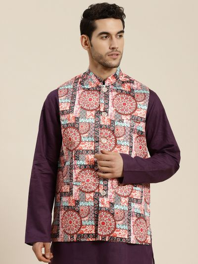 Sojanya (Since 1958), Men's Silk Blend Peach Printed ONLY Waistcoat