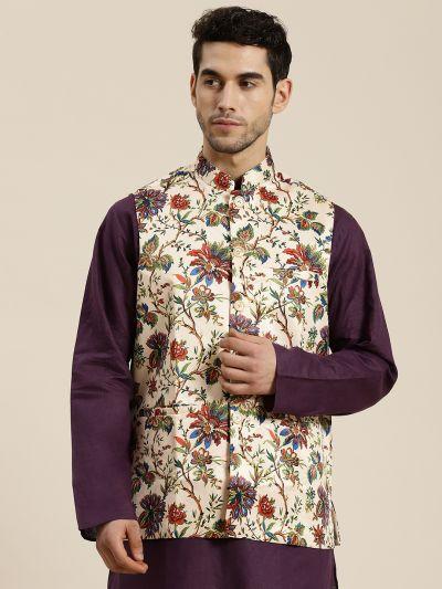 Sojanya (Since 1958), Men's Silk Blend Fawn Printed ONLY Waistcoat