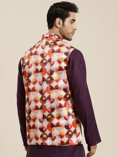 Sojanya (Since 1958), Men's Silk Blend Off white Printed ONLY Waistcoat
