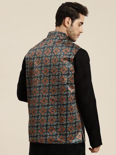 Sojanya (Since 1958), Men's Silk Blend Botell Green Printed ONLY Waistcoat