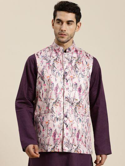 Sojanya (Since 1958), Men's Silk Blend Pink Printed ONLY Waistcoat