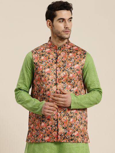 Sojanya (Since 1958), Men's Silk Blend Tan Printed ONLY Waistcoat