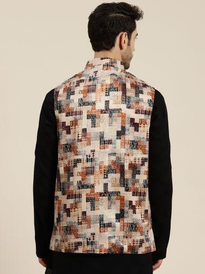Sojanya (Since 1958), Men's Silk Blend Beige Printed ONLY Waistcoat