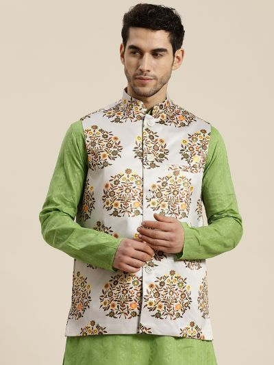 Sojanya (Since 1958), Men's Silk Blend Light Grey Printed ONLY Waistcoat
