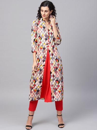 Sojanya (Since 1958), Women's Red Printed A-Line Kurta