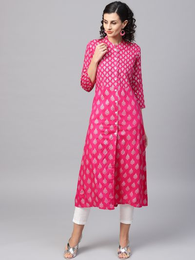 Sojanya (Since 1958), Women's Pink Foil Print A-Line Kurta