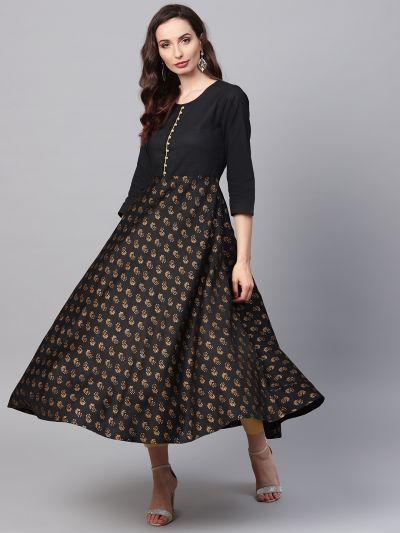 Sojanya (Since 1958), Women's Black Foil Print Kurta With Gold Trousers