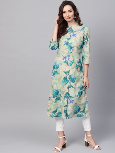 Sojanya (Since 1958), Women's Blue Printed Kurta With Off-White Trousers