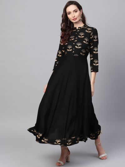 Sojanya (Since 1958), Women's Black Foil Print Kurta With Gold Trousers