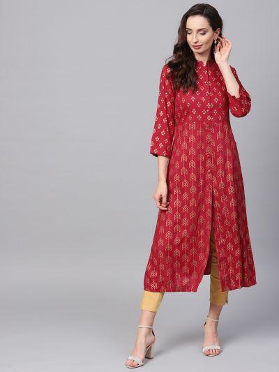 Sojanya (Since 1958), Women's Maroon Foil Print Kurta With Gold Trousers