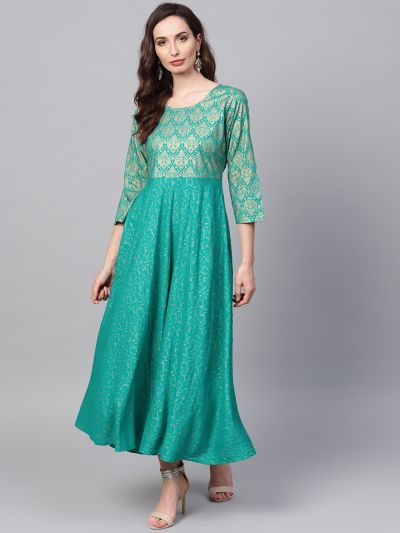 Sojanya (Since 1958), Women's Sea Green Foil Print Kurta With Gold Trousers