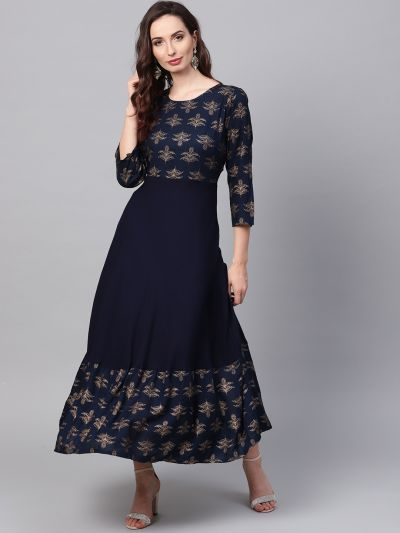 Sojanya (Since 1958), Women's Navy Blue Foil Print Kurta With Gold Trousers