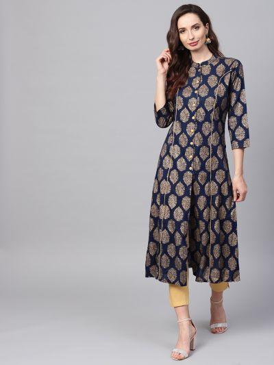 Sojanya (Since 1958), Women's Navy Blue Foil Print A-Line Kurta