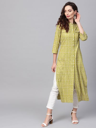 Sojanya (Since 1958), Women's Green Printed A-Line Kurta