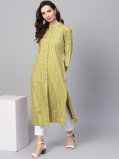 Sojanya (Since 1958), Women's Green Printed Kurta With Off-White Trousers