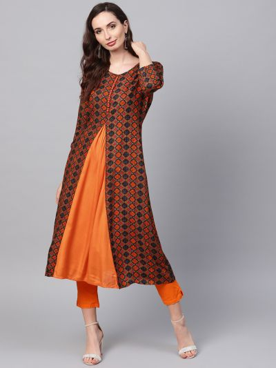 sojanya (Since 1958), Women's Orange Printed A-Line Kurta