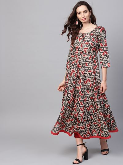 Sojanya (Since 1958), Women's Red Printed Kurta With Maroon Trousers