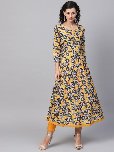 Sojanya (Since 1958), Women's Yellow Printed Kurta With Mustard Trousers