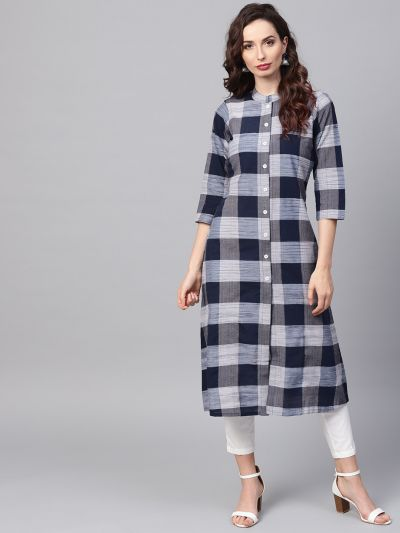 Sojanya (Since 1958), Women's Navy Blue A-Line Kurta