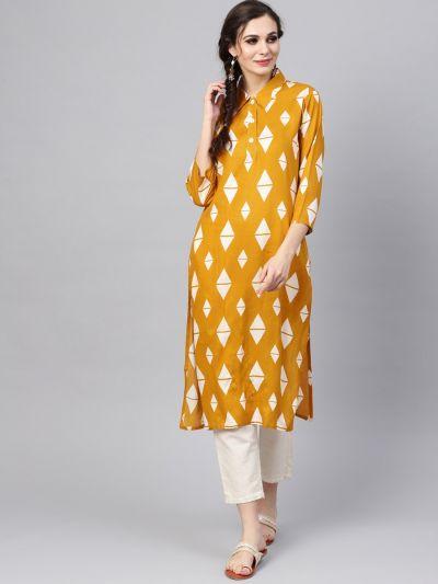 Sojanya (Since 1958), Women's Mustard Printed A-Line Kurta