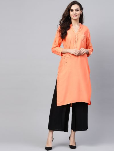 Sojanya (Since 1958), Women's Peach Straight Kurta