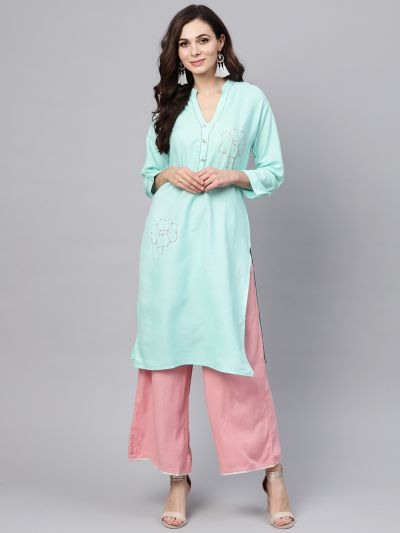 Sojanya (Since 1958), Women's Sky Blue Straight Kurta