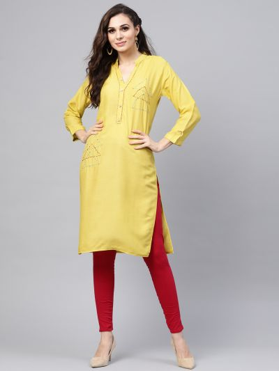Sojanya (Since 1958), Women's Lime Green Straight Kurta