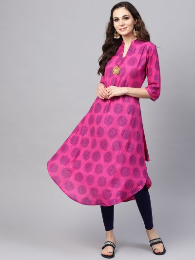 Sojanya (Since 1958), Women's Pink & Navy Blue Printed A-Line Kurta