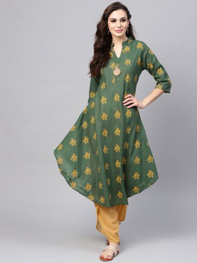 Sojanya (Since 1958), Women's Dark Green & Yellow Printed A-Line Kurta