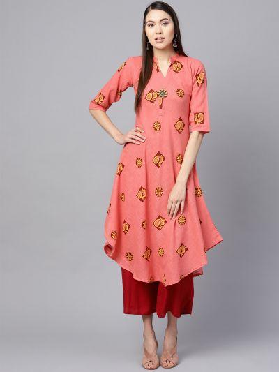 Sojanya (Since 1958), Women's Peach & Maroon Printed A-Line Kurta