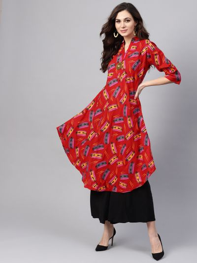 Sojanya (Since 1958), Women's Red & Pink Printed A-Line Kurta