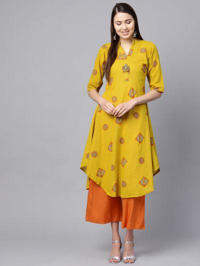 Sojanya (Since 1958), Women's Mustard & Orange Printed A-Line Kurta