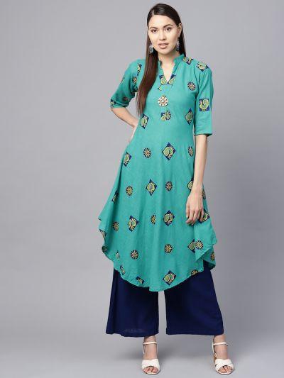 Sojanya (Since 1958), Women's Sea Green & Blue Printed A-Line Kurta