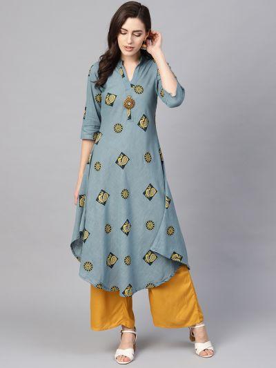 Sojanya (Since 1958), Women's Teal Blue & Blue Printed A-Line Kurta