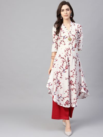 Sojanya (Since 1958), Women's White & Red Printed A-Line Kurta